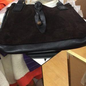 Dark chocolate suede/leather bag